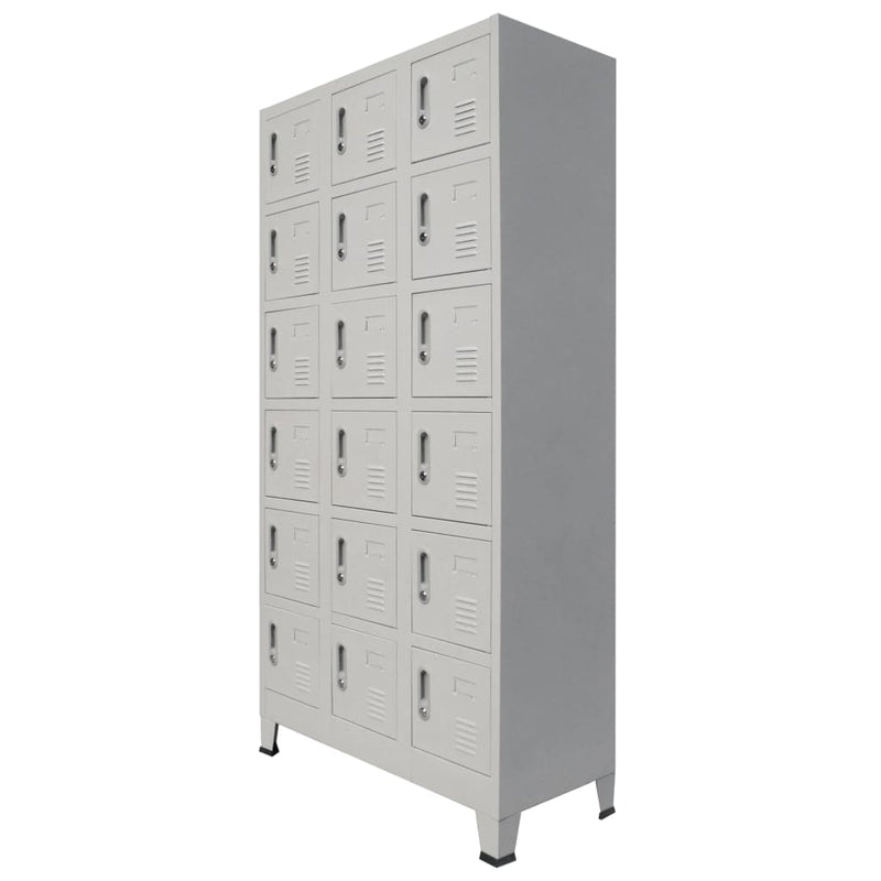 Locker Cabinet with 18 Compartments Metal 90x40x180 cm