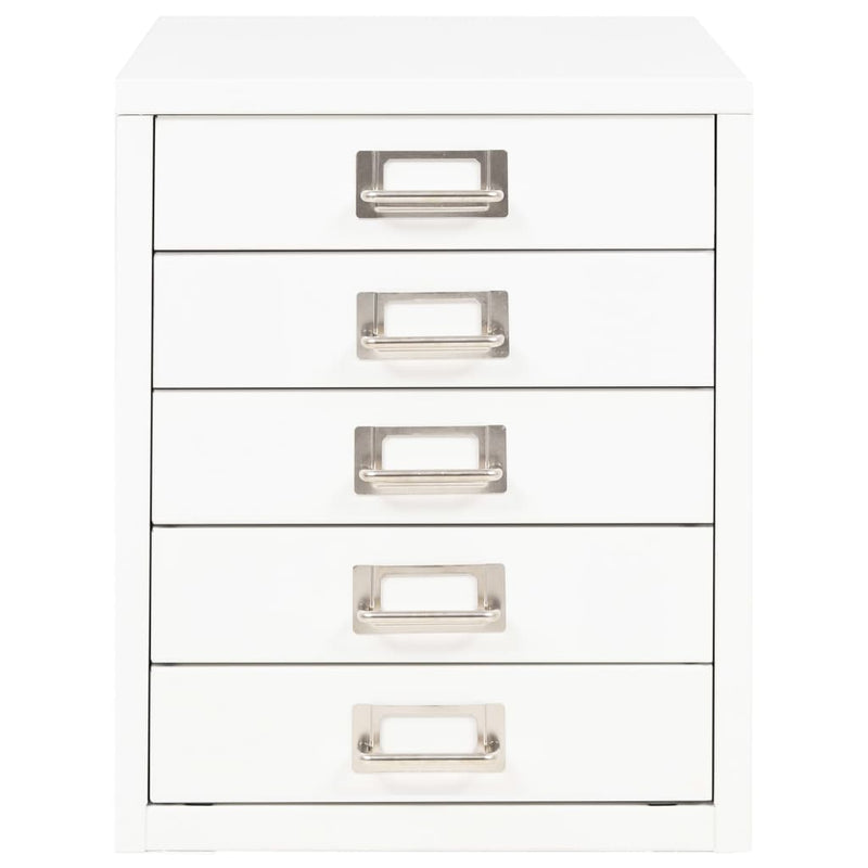 Filing Cabinet with 5 Drawers Metal 28x35x35 cm White