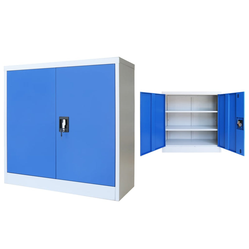Office Cabinet Metal  90x40x90 cm Grey and Blue