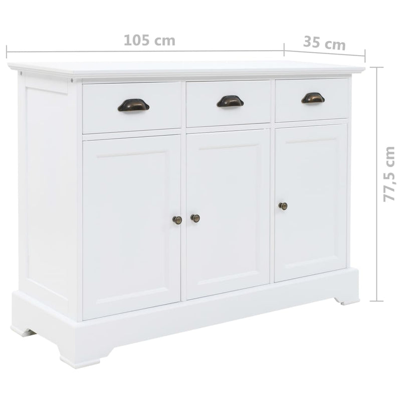 Sideboard with 3 Doors MDF and Pinewood 105x35x77.5 cm
