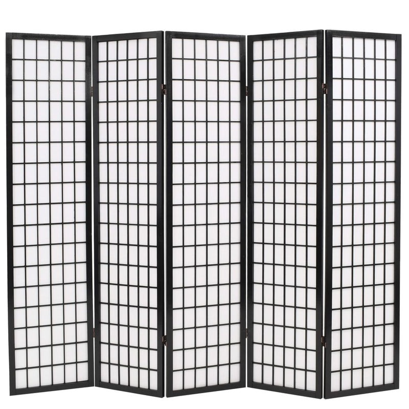 Folding 5-Panel Room Divider Japanese Style 200x170 cm Black