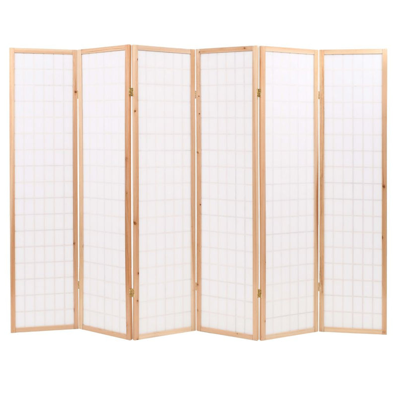 Folding 6-Panel Room Divider Japanese Style 240x170 cm Natural