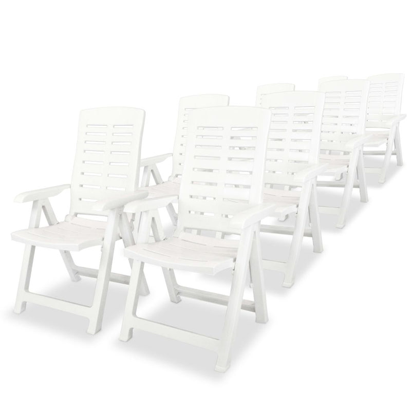 9 Piece Outdoor Dining Set Plastic White