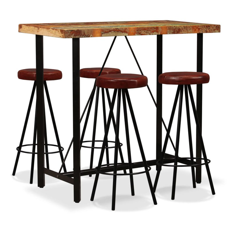 5 Piece Bar Set Solid Reclaimed Wood and Genuine Leather