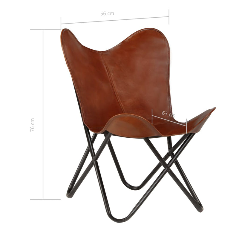 Butterfly Chair Brown Kids Size Real Leather