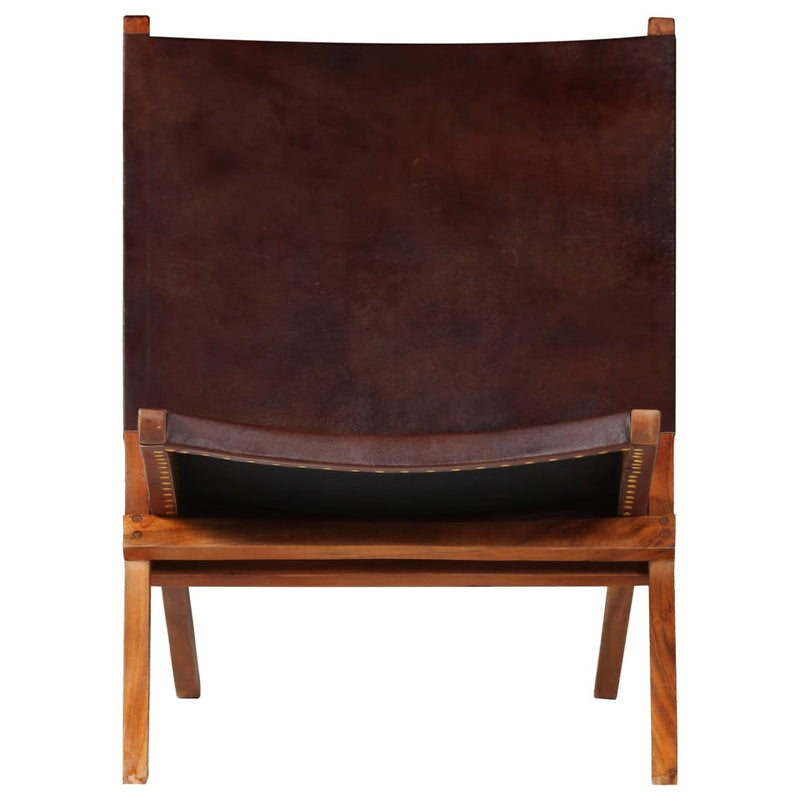Folding Relaxing Chair Brown Real Leather