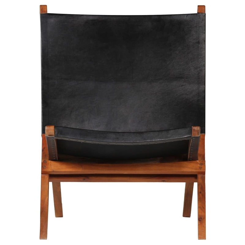Folding Relaxing Chair Black Real Leather