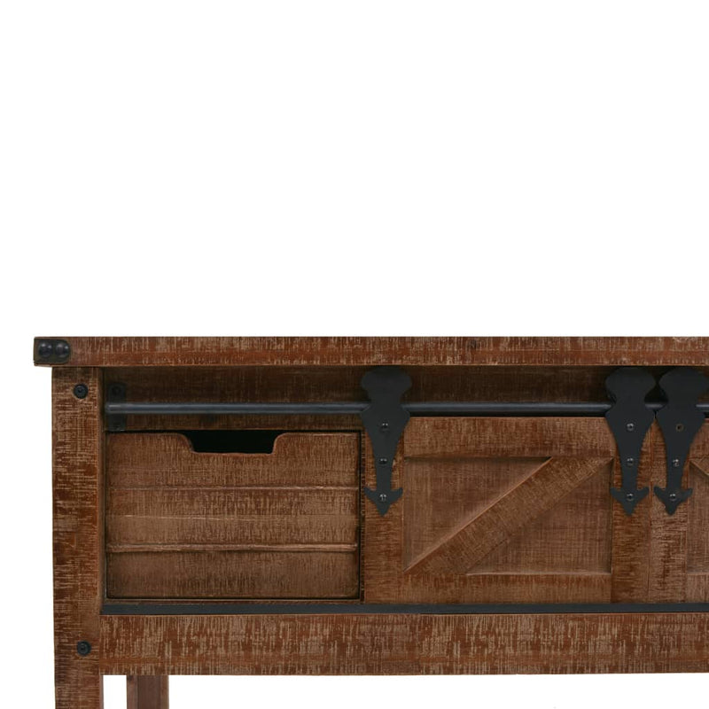 Console Table Solid Fir Wood 131x35.5x75 cm Brown