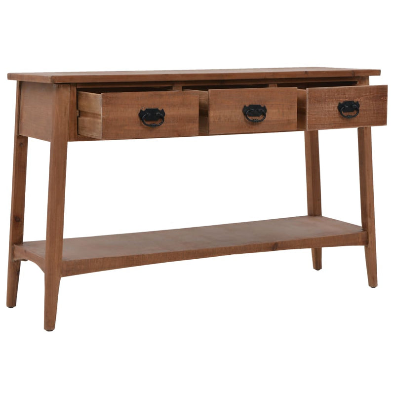 Console Table Solid Fir Wood 126x40x77.5 cm Brown