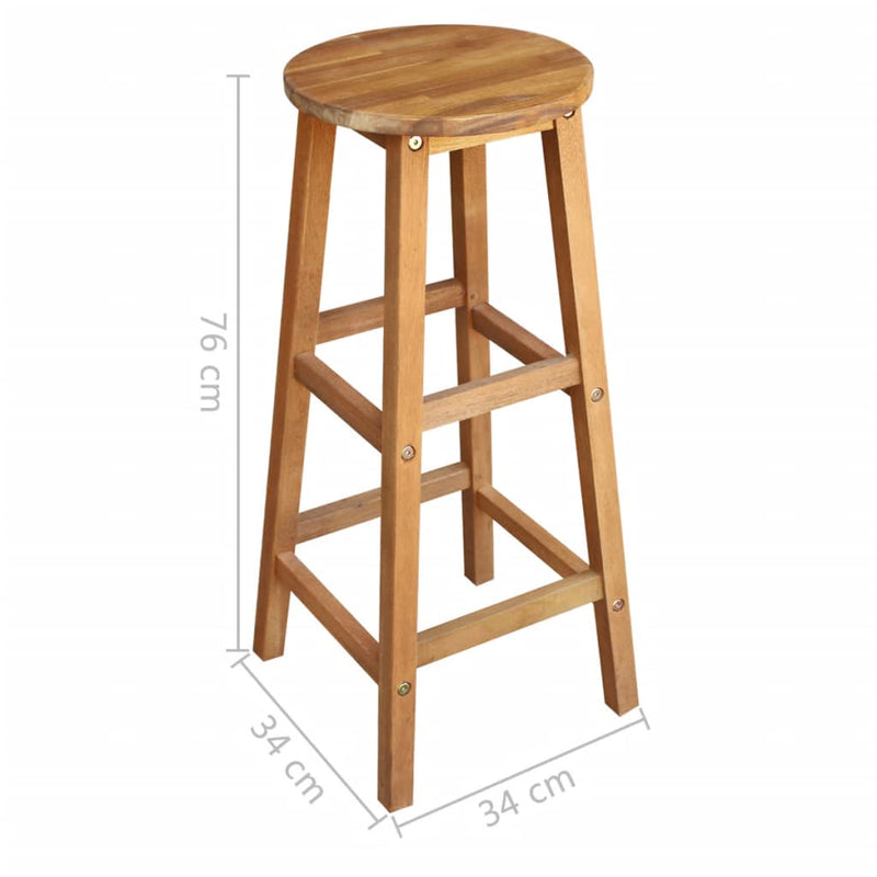 Bar Table and Stool Set 3 Pieces Solid Acacia Wood
