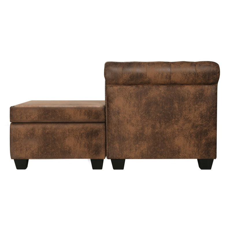 L-shaped Chesterfield Sofa Artificial Suede Leather Brown