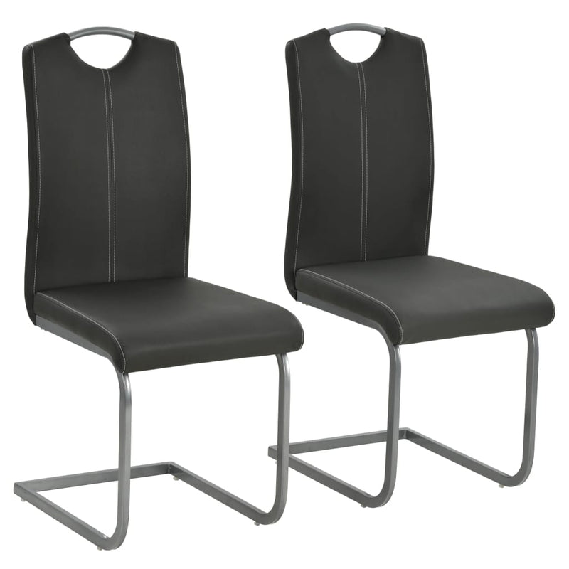 Cantilever Dining Chairs 2 pcs Grey Faux Leather