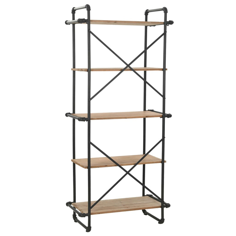 Bookcase Solid Firwood and Steel 80x42x180 cm