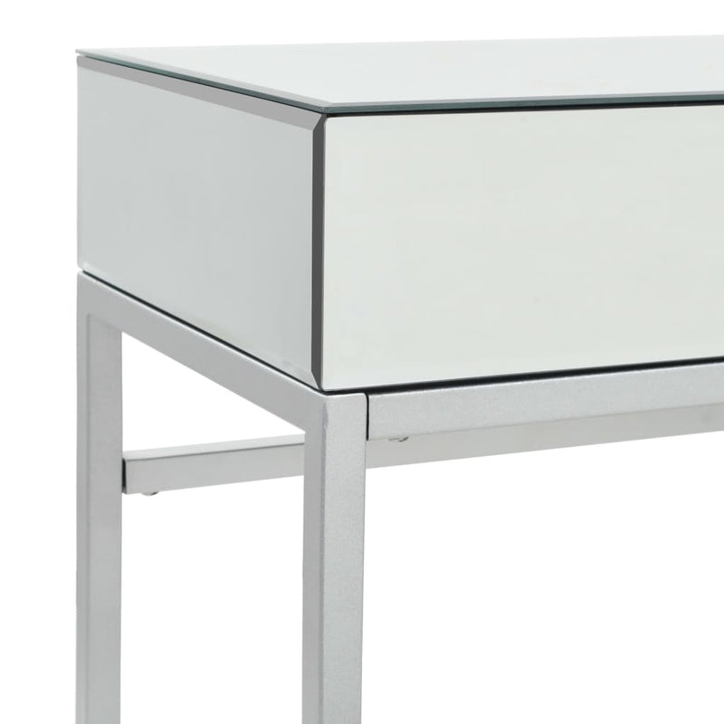 Mirrored Console Table Steel and Glass 107x33x77 cm
