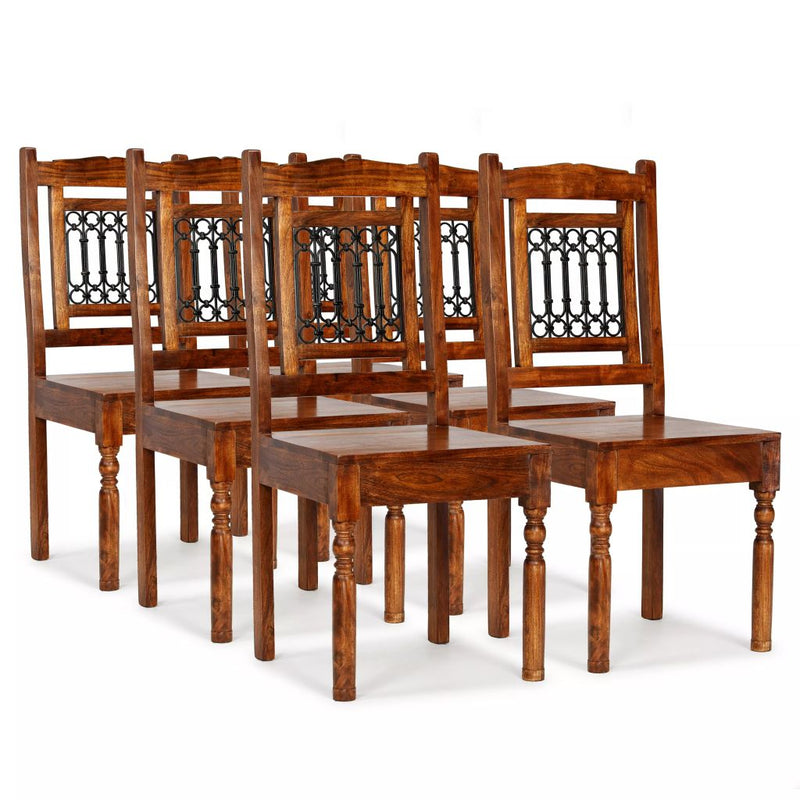 Dining Chairs 6 pcs Solid Wood with Sheesham Finish Classic