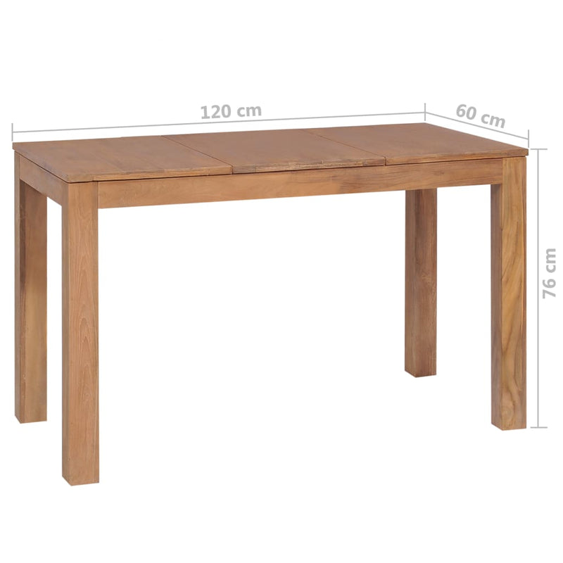 Dining Table Solid Teak Wood with Natural Finish 120x60x76 cm