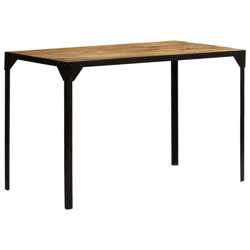 Dining Table Solid Rough Mange Wood and Steel 120 cm