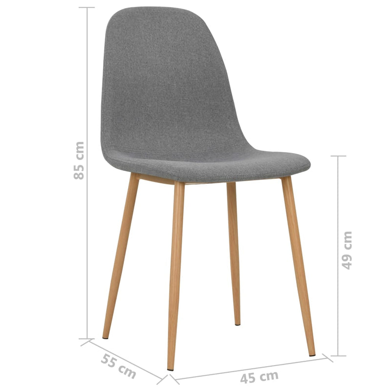 Dining Chairs 4 pcs Light Grey Fabric