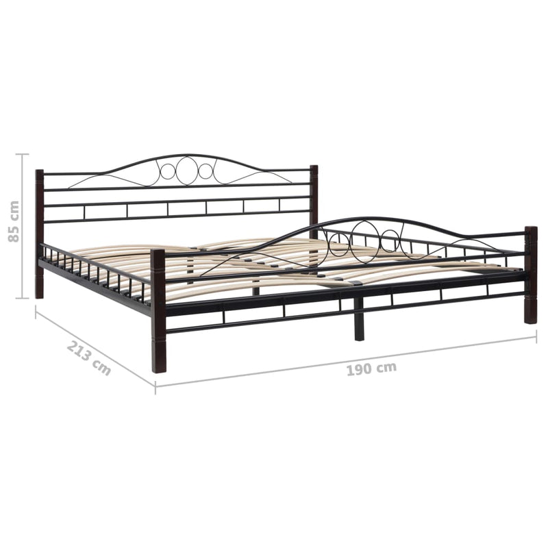 Bed Frame Black Metal 183x203 cm