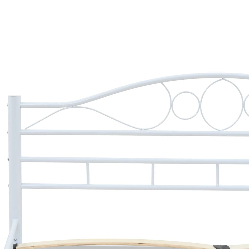 Bed Frame White Metal 137x187 cm