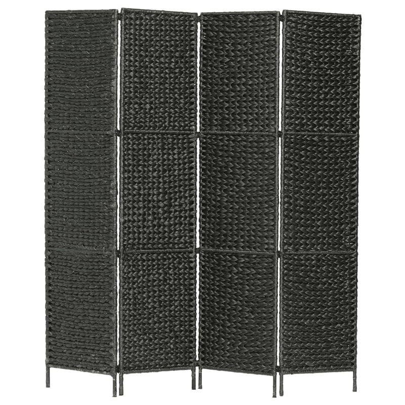 4-Panel Room Divider Black 154x160 cm Water Hyacinth