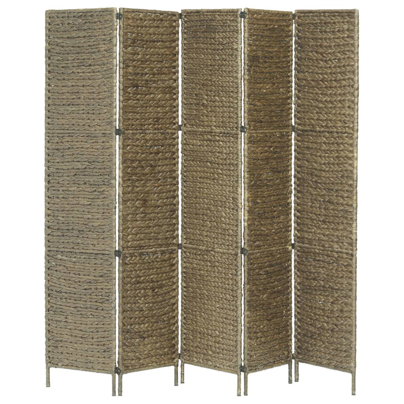 5-Panel Room Divider Brown 193x160 cm Water Hyacinth