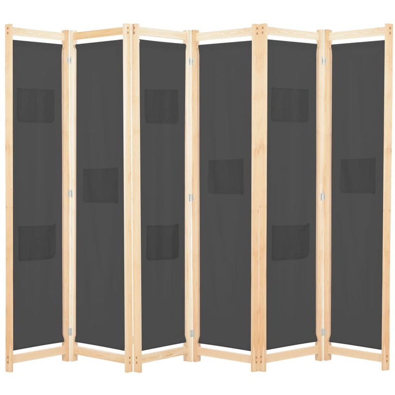 6-Panel Room Divider Grey 240x170x4 cm Fabric