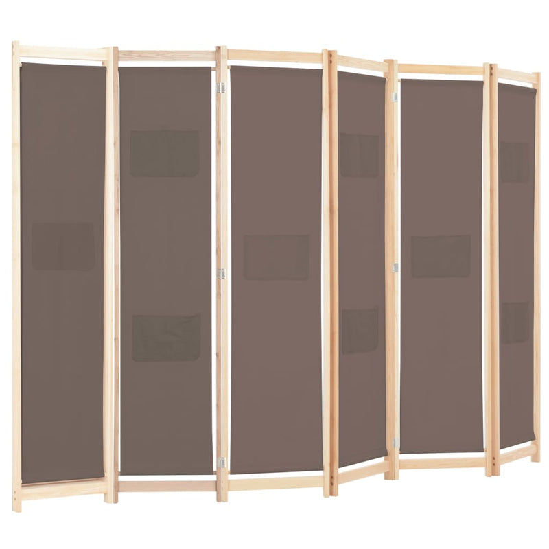 6-Panel Room Divider Brown 240x170x4 cm Fabric
