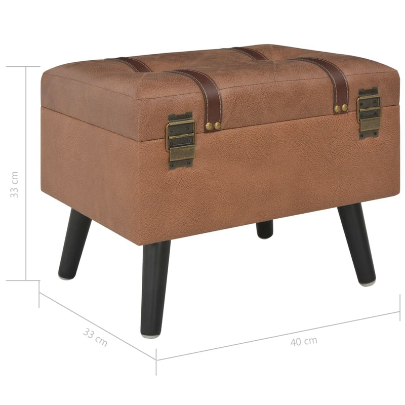 Storage Stool 40 cm Brown Faux Leather