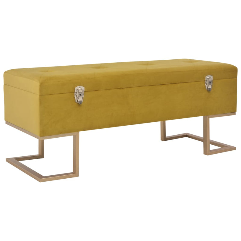 Bench with Storage Compartment 105 cm Mustard Velvet