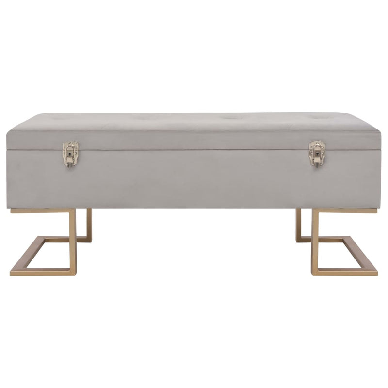 Bench with Storage Compartment 105 cm Grey Velvet