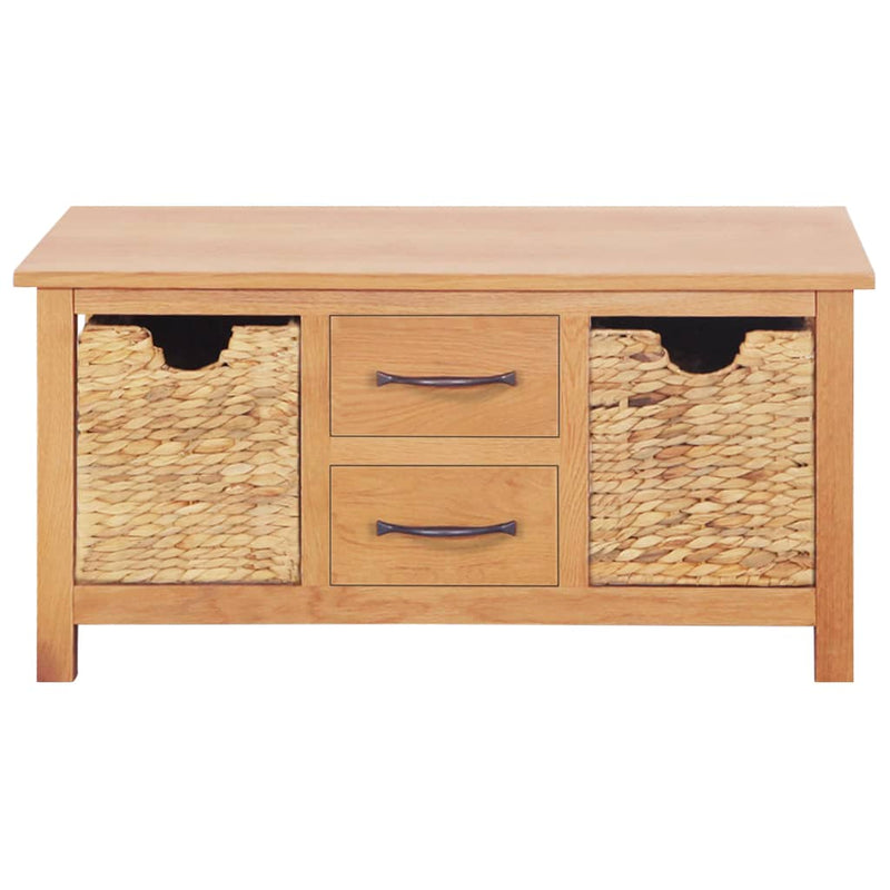 Sideboard 88x53x43 cm Solid Oak Wood and Water Hyacinth