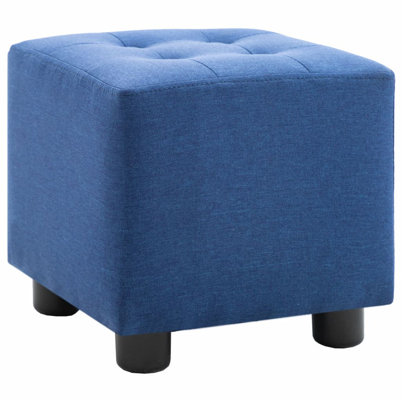 2 Piece Armchair and Stool Set Blue Fabric