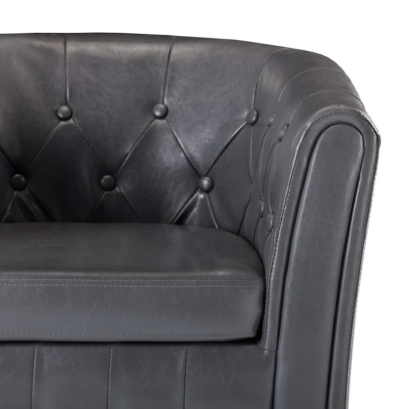 Tub Chair with Footstool Grey Faux Leather