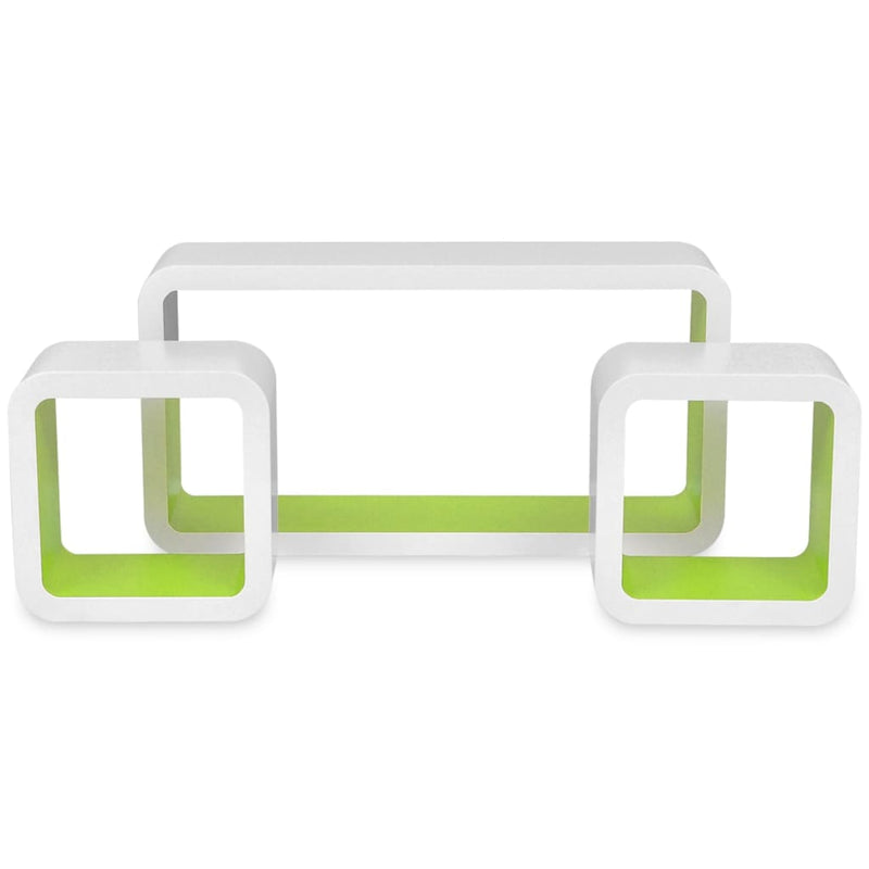 Wall Cube Shelves 6 pcs White and Green