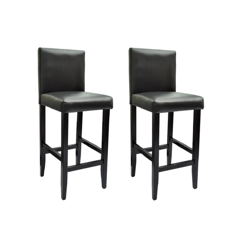 Bar Stools 2 pcs Black Faux Leather