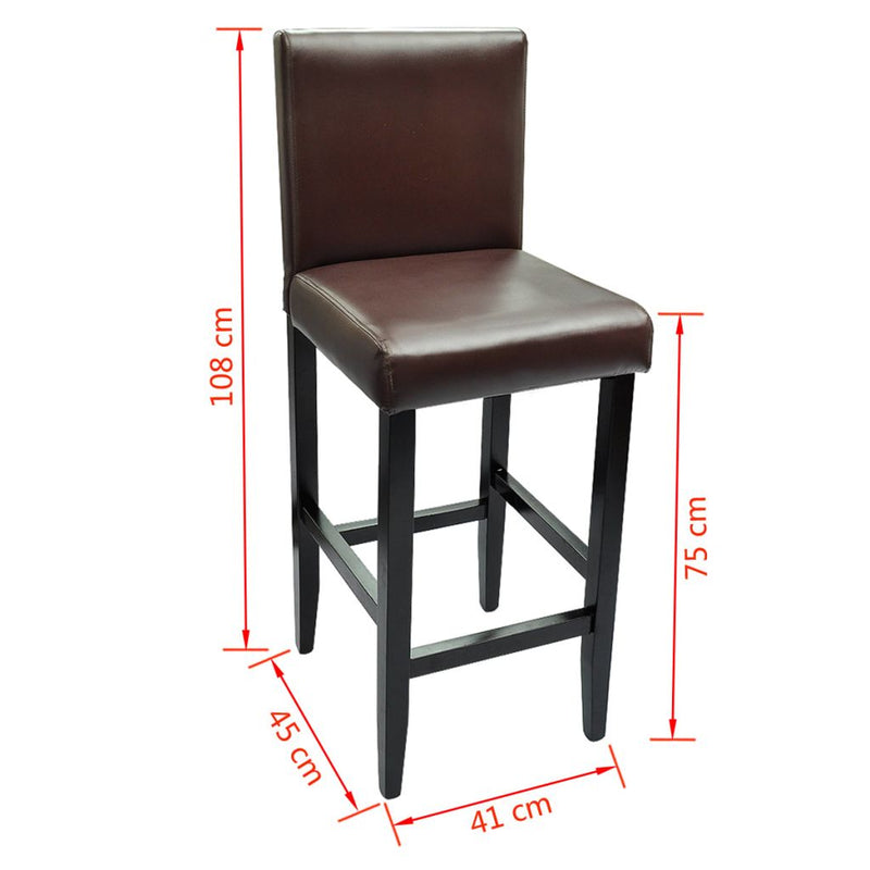 Bar Stools 2 pcs Dark Brown Faux Leather