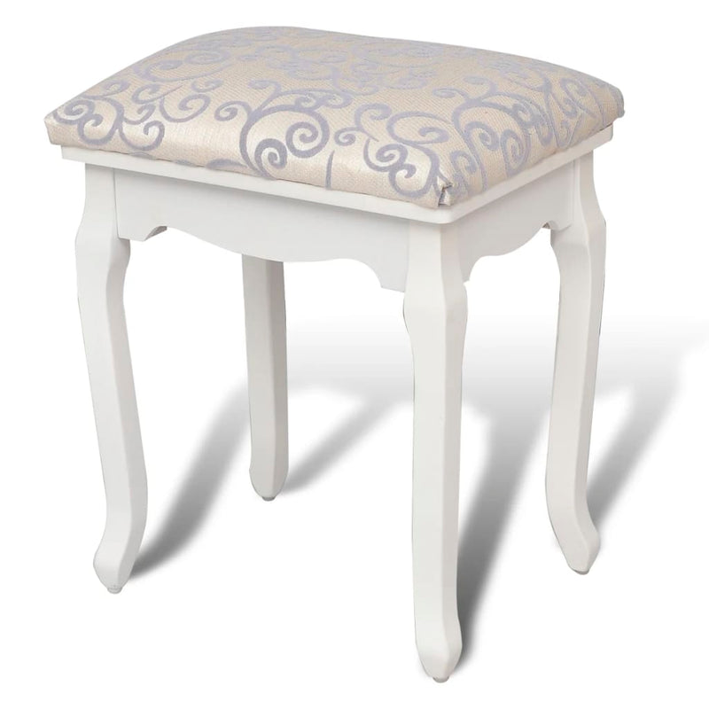 Dressing Stool Warm White Fabric