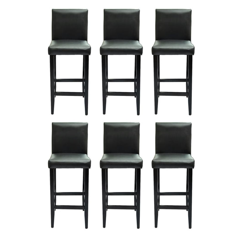 Bar Stools 6 pcs Black Faux Leather