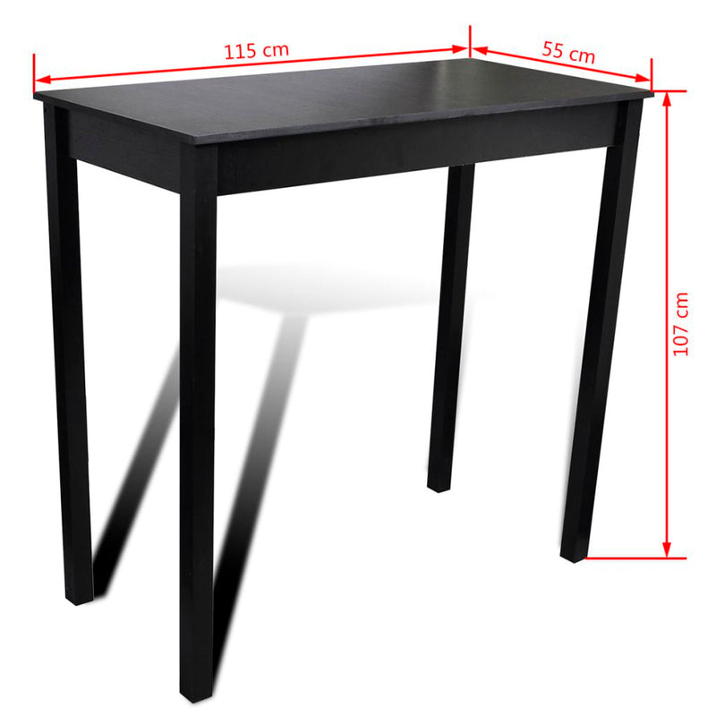 Bar Table with 4 Bar Chairs Black