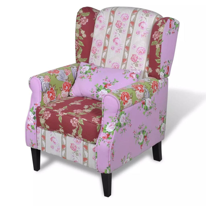 Armchair with Patchwork Design Fabric