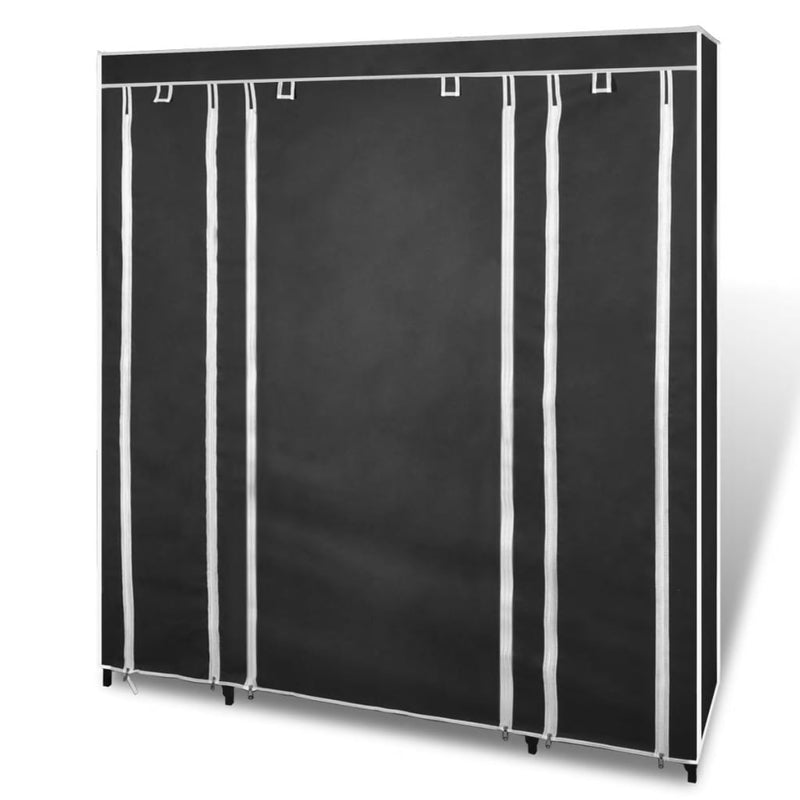 Wardrobe with Compartments and Rods 45x150x176 cm Black Fabric