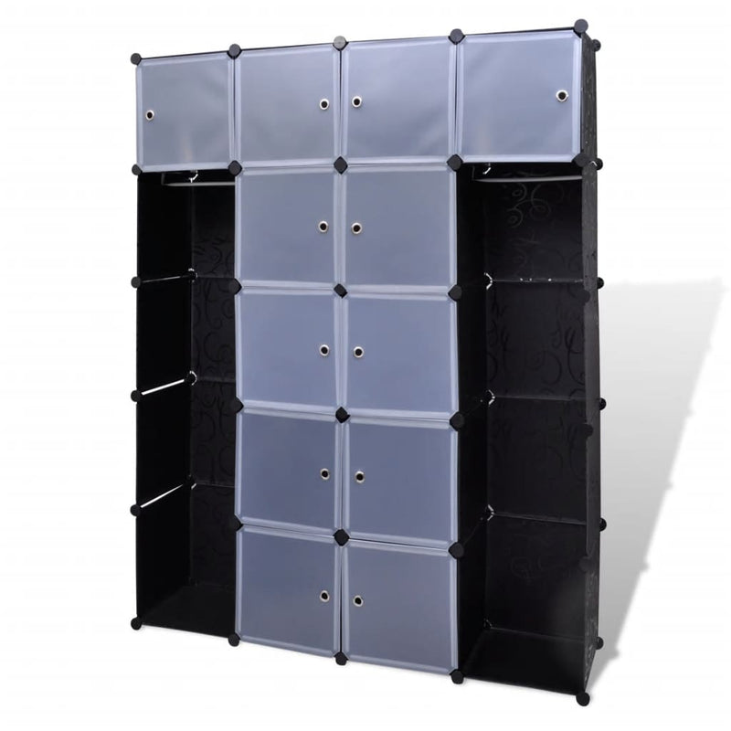 Modular Cabinet 14 Compartments Black and White 37x146x180.5 cm