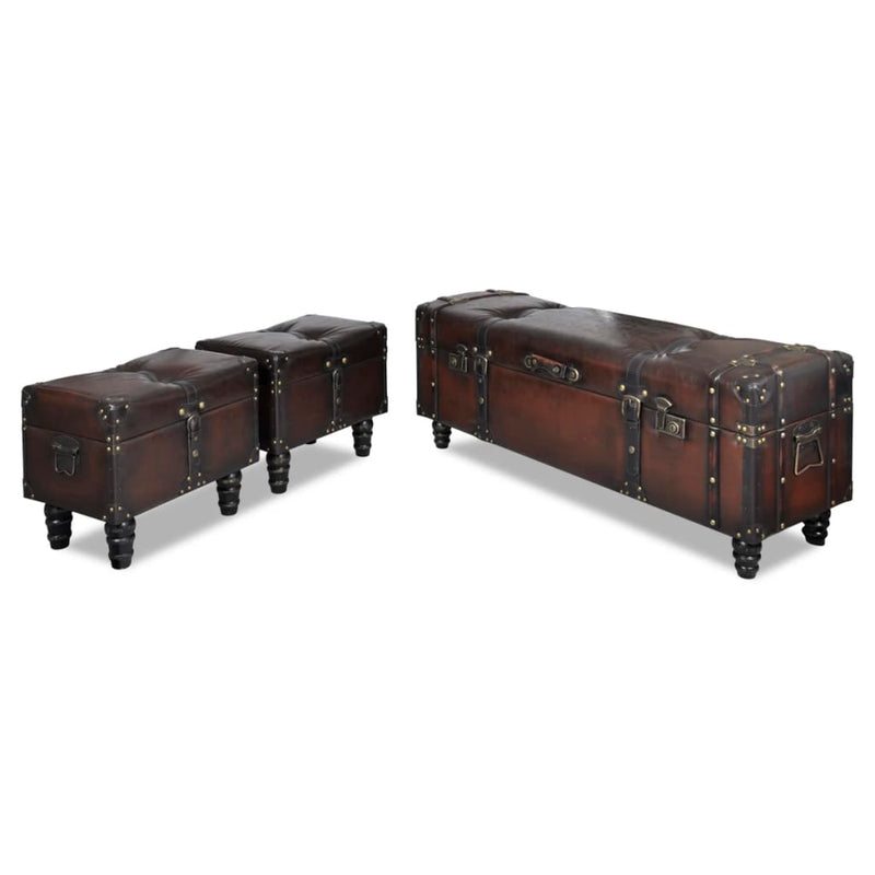 Storage Bench Set 3 pcs Brown
