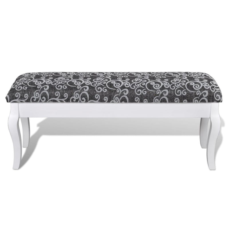 Cushioned Hocker for Dressing Table 2-Seater Black 110 cm