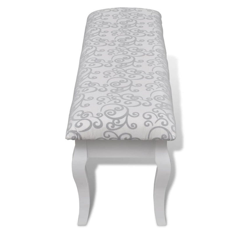 Cushioned Hocker for Dressing Table 2-Seater White 110 cm