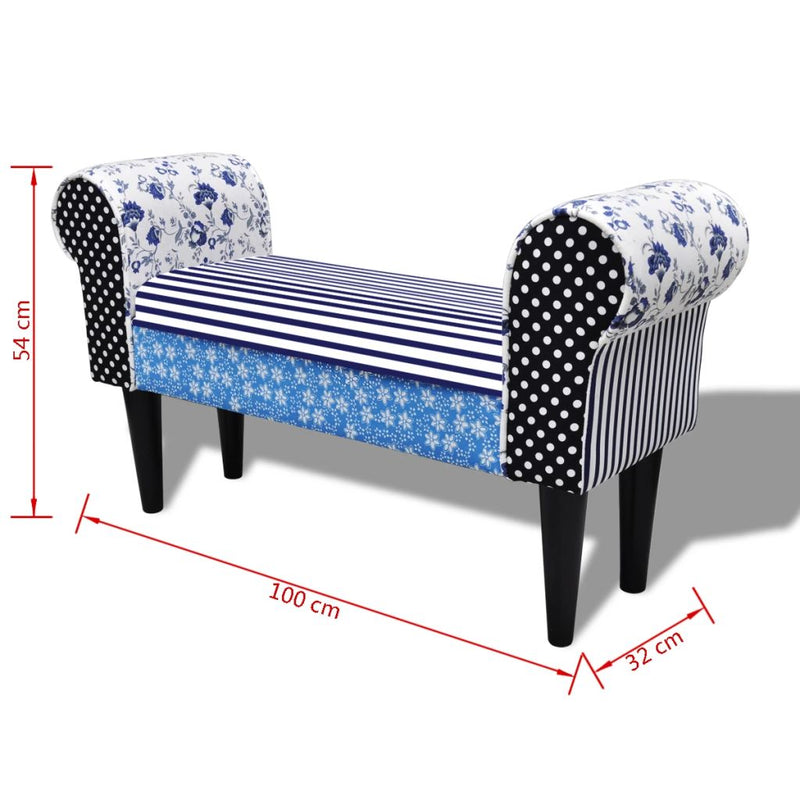 Patchwork Bench Country Living Style Blue & White