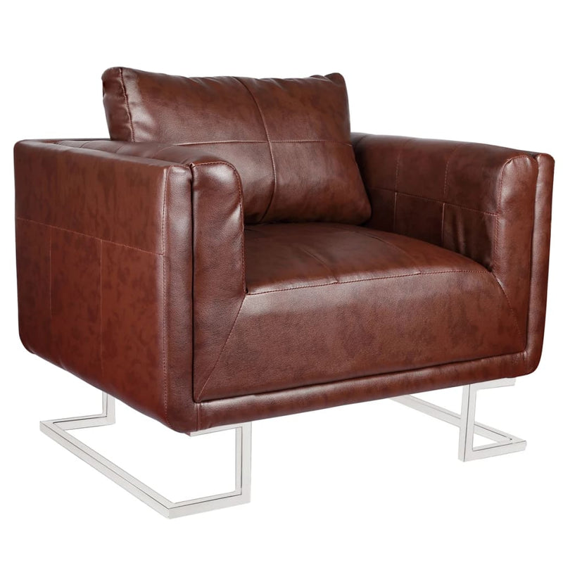 Cube Armchair with Chrome Feet Brown Faux Leather