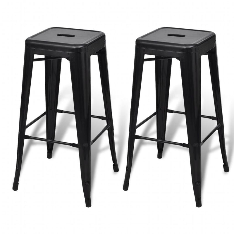 Bar Stools 2 pcs Black Steel