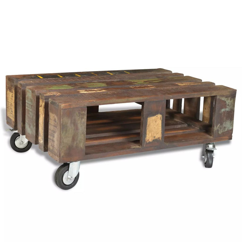 Coffee Table with 4 Wheels Reclaimed Wood